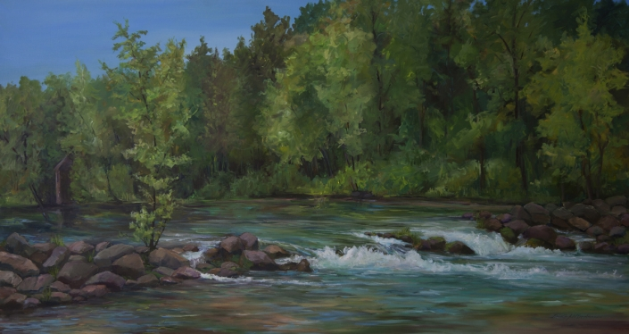 "Bennett Spring: Favorite Place to Paint - 24"" x 48"" Oil on Primed Board"