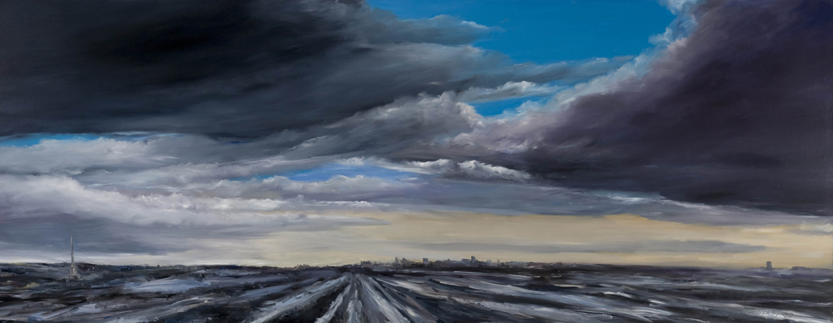 "Milwaukee Vista: 21st Century - 34"" x 80"" Oil on Primed Wood"