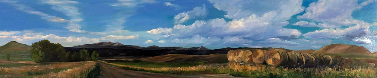 "Road by Jentel - Oil on Primed Wood (Hallow Door) 17"" x 70"""
