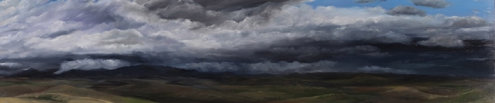 "Storm Moving On - 17"" x 70"" Oil on Primed Wood"