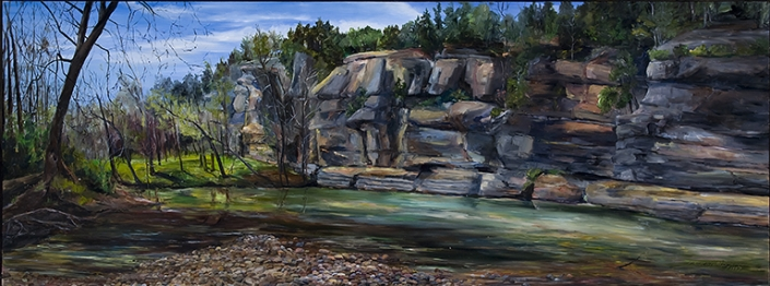 "Arkansas Buffalo National River - 34"" x 80"" Oil on Primed Wood"