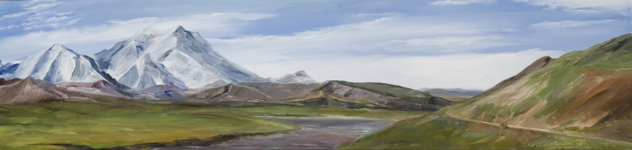 "Denali's Wilderness Area with Road - 10"" x 40"" Oil on Primed Wood"