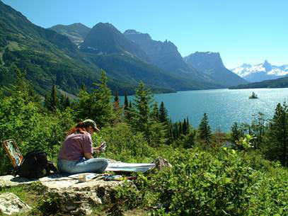 Diane Bywaters Painting at Glacier National Park in Montana
