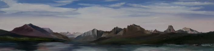 "Summer in Alaska - 10"" x 40"" Oil on Primed Wood"