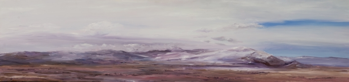"View from Salt Lake - 10"" x 40"" Oil on Primed Wood"