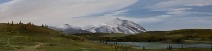 "Vista View of Denali - 10"" x 40"" Oil on Primed Wood"