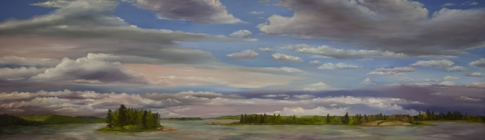 "Voyageurs National Park - 22"" x 70"" Oil on Primed Wood"
