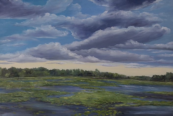 "Waterlilies at Indiana Dunes National Park - 20"" x 40"" Oil on Canvas"