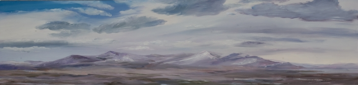 "Winterscape - 10"" x 40"" Oil on Primed Wood"