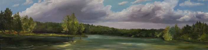 "Wisconsin Lake - 10"" x 40"" Oil on Primed Wood"